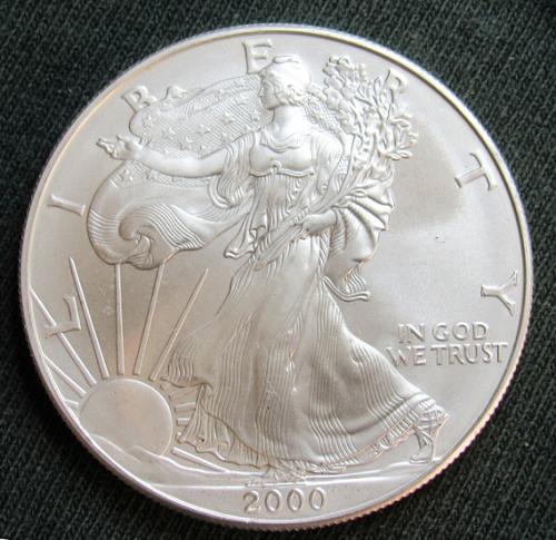 2000 American Silver Eagle 2000W: Bullion (No Mint Mark)