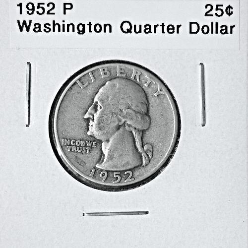 1952 P Washington Quarter Dollar - 6 Photos!