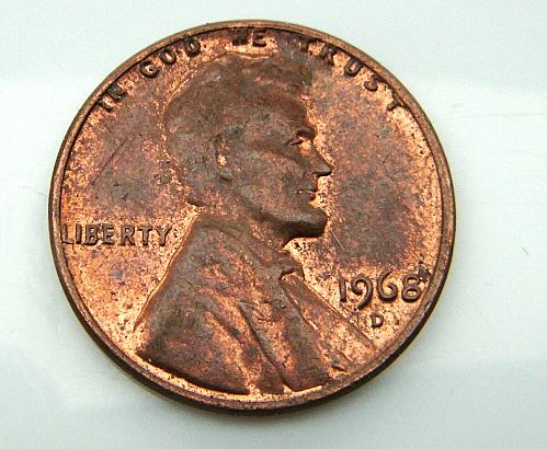 "1968-D/Rev Error(Letter ""A"") Lincoln Memorial Cent."