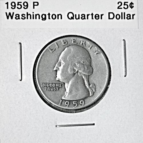 1959 P Washington Quarter Dollar - 6 Photos!