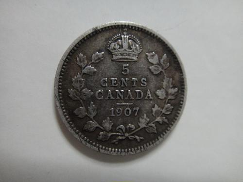 CANADA 5 Cents 1907 Very Fine-20 Nice Light Pearl Grey Silver Color!