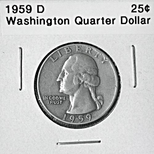 1959 D Washington Quarter Dollar - 6 Photos!