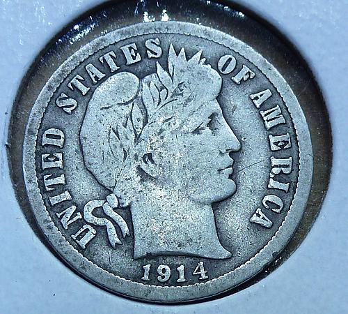 1914-P Barber Dime Grades Very Good (390)