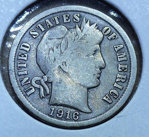 1916-P Barber Dime Grades Full Very Fine (394)