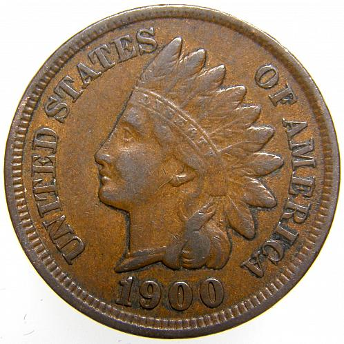 1900 P Indian Head Cent #17 Natural Brown