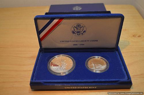 1986-S United States Statue of Liberty Half Dollar & Silver Dollar Proof Set