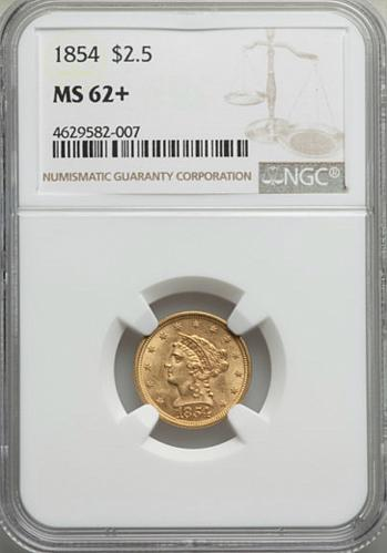 1854 P $2 1/2 GOLD LIBERTY HEAD QUARTER EAGLE