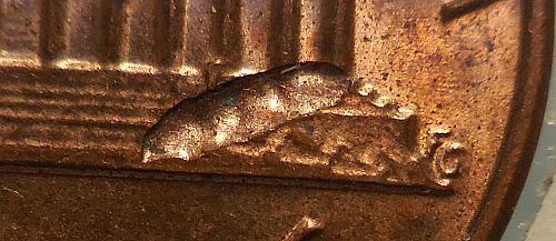 1985-P Lincoln Cent Struck Through Error