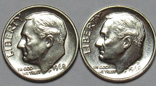 1968 P&D Roosevelt Dimes in BU condition
