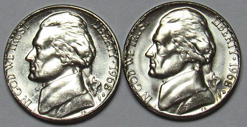 1968 D&S Jefferson Nickels in BU condition