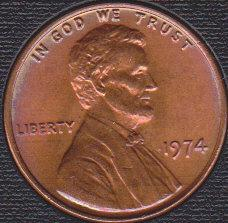 1974 P Lincoln Memorial Cent, Nicely Toned
