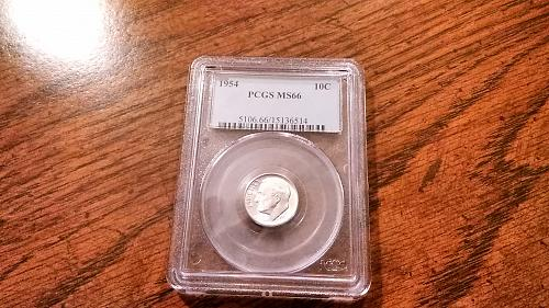 Gorgeous 1954 PCGS MS66 Silver Roosevelt Dime as shown in photos.  Great coin