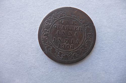 1908  India  one quarter Anna