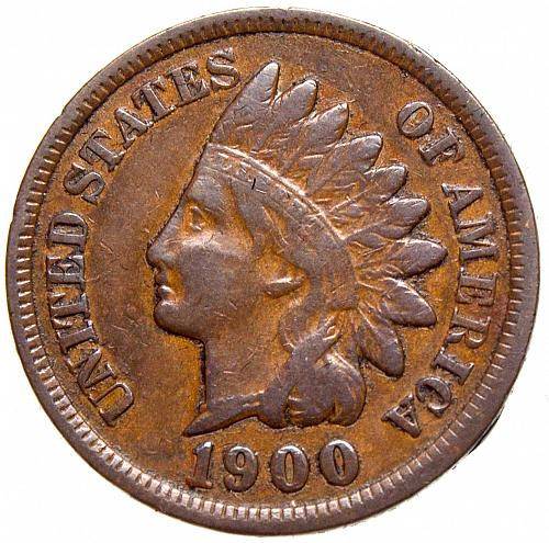 1900 P Indian Head Cent #22  Natural Brown