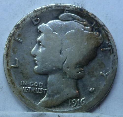 1916-S Very Good Mercury Dime   ( 4419)