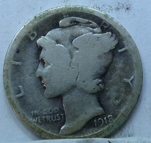 1918-P Good Mercury Dime   ( 4237)