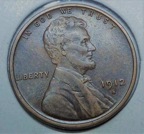1912-S About Uncirculated Lincoln Wheat Cent ( # 232 )