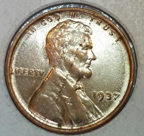1937-P Gem BU RED Lincoln Wheat Cent (250)