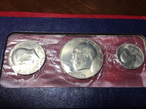 1976 PD Uncirculated Mint Sets: Silver Clad 3 Coin Set