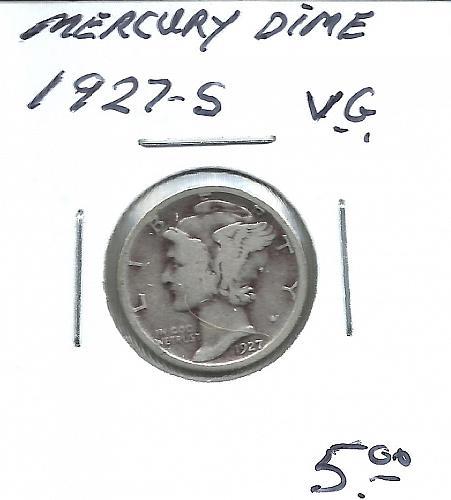 1927  S  MERCURY DIME