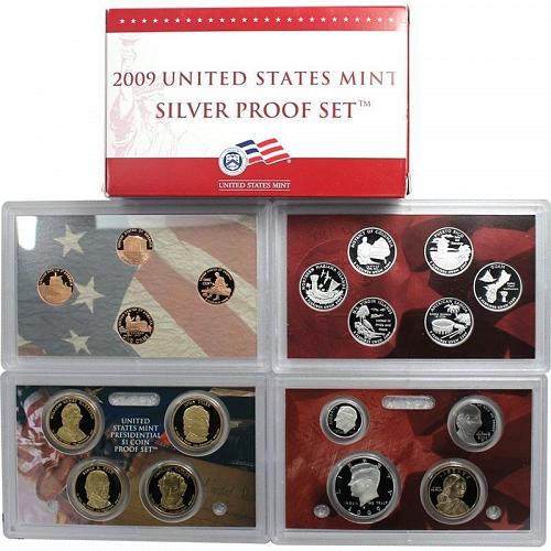 2009-S 18 PC United States Silver Proof Set w/box & COA