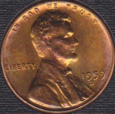 1959 D Lincoln Memorial Cent, Nicely Toned