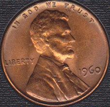 1960 P Lincoln Memorial Cent, Nicely Toned