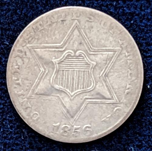 1856 VF THREE CENT SILVER TYPE III