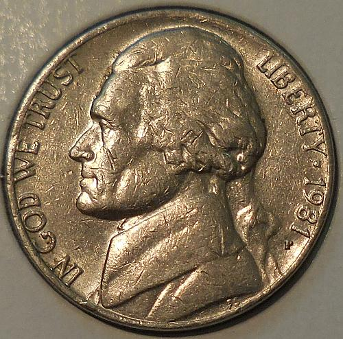 1981-P Jefferson Nickel Struck Through Error