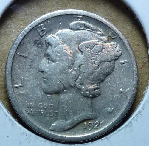 1920-P  Very Fine Mercury Dime VF ( 253 )