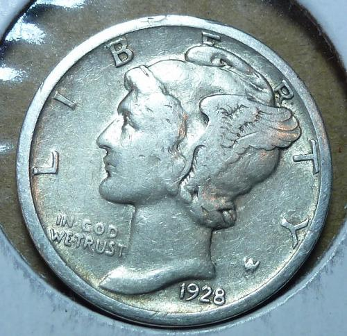 1928-D VERY Fine  Mercury Dime  VF ( 291 )