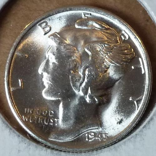 1945-Micro S Uncirculated Mercury Dime Grades UNC ( 221)