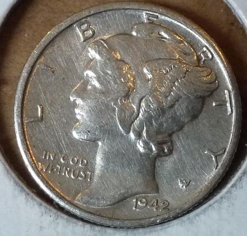 1942-D Uncirculated Mercury Dime Grades UNC ( 247)