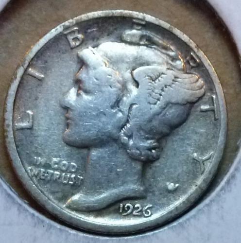 1926-D Very Good  Mercury Dime  VG ( 893 )