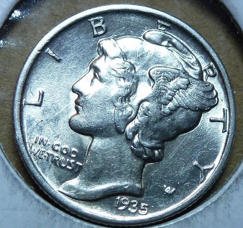 1935-P Gem BU Mercury Dime   ( 889 )