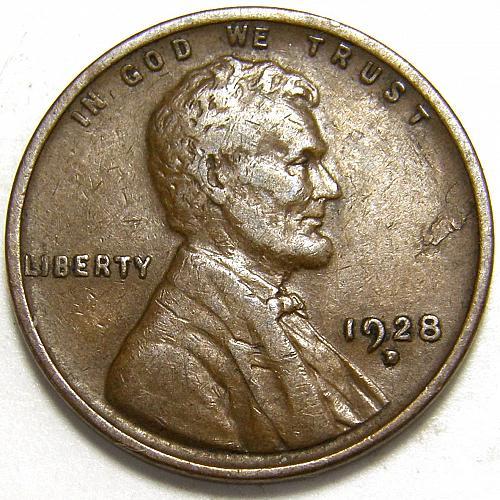 1928 D Lincoln Wheat Cent #3 Obverse Planchet delamination