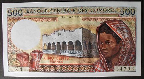 Comoros P10a 500 Francs AU