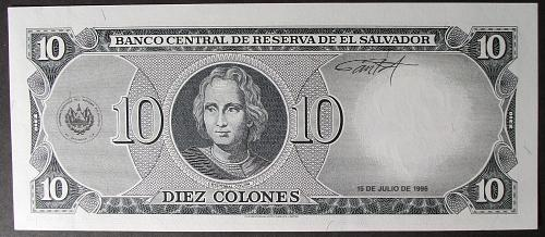 El Salvador P144a 10 Colones UNC62