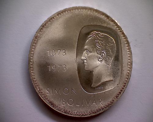 """1973 VENEZUELA TEN BOLIVARES  """"SILVER"""""""