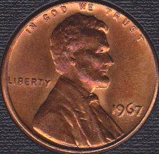 1967 P Lincoln Memorial Cent, Nicely Toned