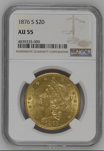 1876 S $20 GOLD LIBERTY DOUBLE EAGLE
