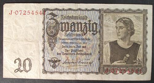 Germany/Third Reich P185 20 Reichsmark Fine