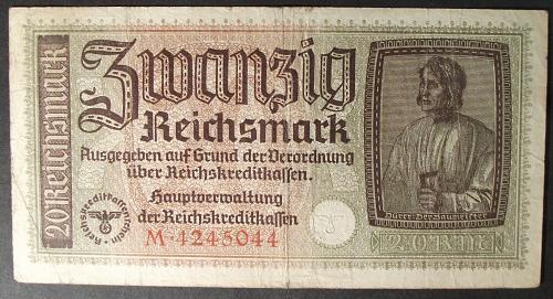 Germany/Third Reich R139 20 Reichsmark Fine+