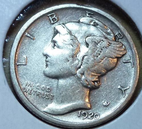 1920-D Extra Fine Mercury Dime   ( 535 )