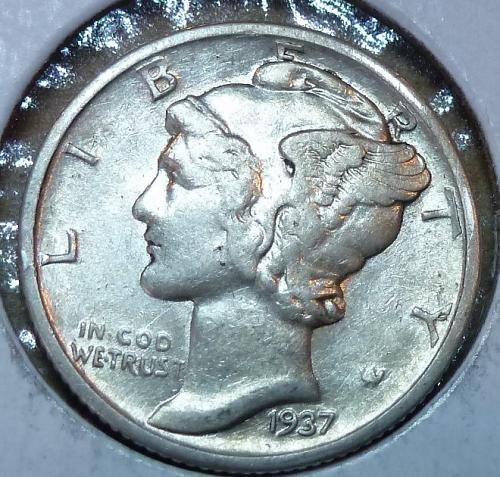 1937-P Extra Fine Mercury Dime   ( 571 )