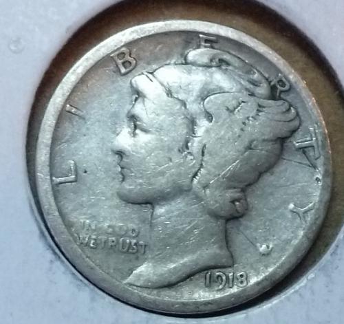1918-S Fine Mercury Dime   ( 568 )