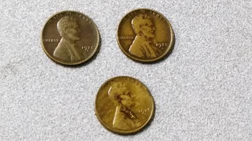 Three (3) Quite nice looking 1925 S  Lincoln Copper Wheat Cents One Woodgrain