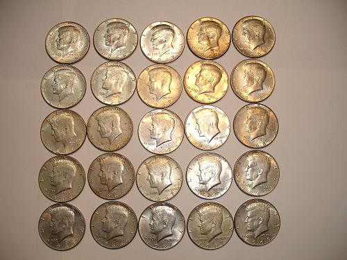 1965 1966 1967 1968 69 Kennedy Silver Halves Half Dollar Collection Lot 25 Coins