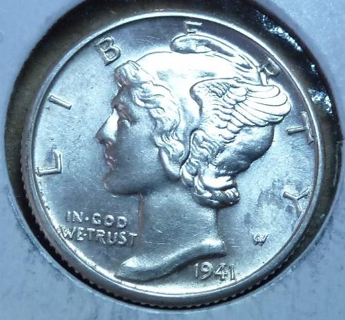 1941-D UNCIRCULATED with FSB Mercury Dime   ( 388 )