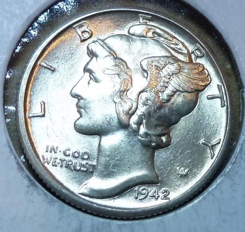 1942-D UNCIRCULATED with FSB Mercury Dime   ( 391 )